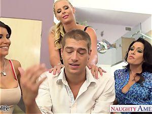 horny stunners Jessica Jaymes, Romi Rain and Phoenix Marie share man sausage