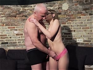 granddad gets meatpipe deep-throated and moist gorgeous lil' doll