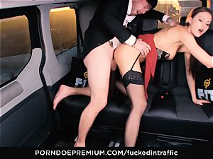 porked IN TRAFFIC - Footjob and car fuck-a-thon with Tina Kay
