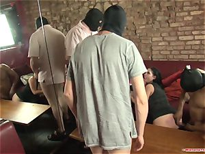 Michelle Thorne and youthful superslut gangbang bang with group