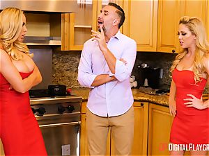 wife Olivia Austin and ex wifey Cherie Deville hammered in the kitchen