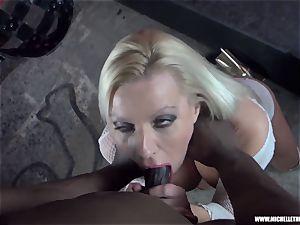 muddy ash-blonde stunner deep throats orb jacks pokes gigantic black schlong