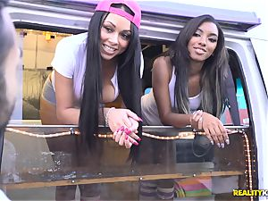 Raven Wylde and Bethany Benz facial cumshot in ice cream truck get cooter pulverized