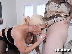 buxomy light-haired Alura Jenson likes a boy in uniform