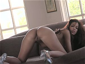 steamy honey Isis Taylor gets moist and nasty on the sofa for steaming action