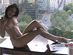 bony french Montreal porno starlet flashes toned fit body