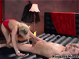 buxom massagist takes care of her client