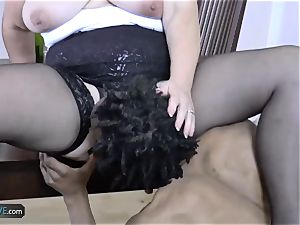 AGEDLOVE granny chubby Lacey Starr encountered her pals