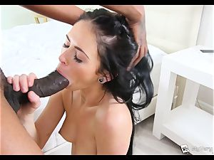 Raven haired Milly Austin gets her very first ebony trunk