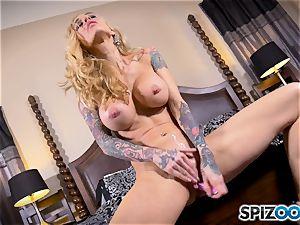 tattooed thin platinum-blonde Sarah Jessie messes with her puss
