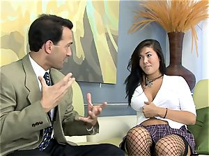 London plowed on a sofa in fishnet pantyhose