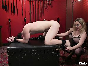 big-chested domme anal pummels male