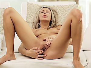 Tracy finger-tickling herself with both arms