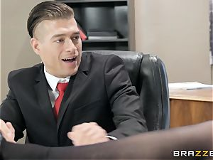 insatiable brown-haired Angela milky poked over the table