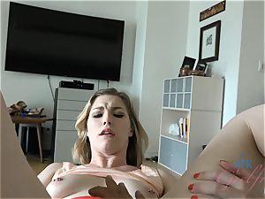 Ella Nova tastes her panties after you finger her