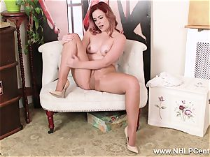 English red-haired rips open glistening nude tights to jerk
