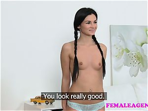 FemaleAgent hottie with pigtails gets agent moist