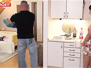 Step father helps daughter-in-law tidy his jism instead of room