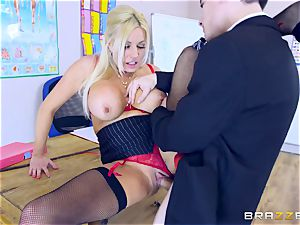 young guy in college uniforms tears up his big-boobed tutor Michelle Thorne