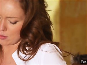 Maddy OReilly is pulverized over the desk by the manager