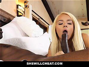 SheWillCheat cuckold wifey devours black boner