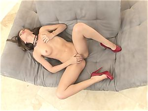 slender Alexis Capri is warm and bald and drains until she ejaculates