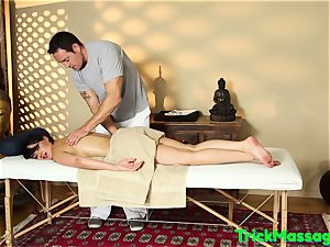 wonderful Bigtits babe Cumsprayed At massage