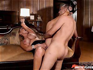 nasty Nikki Benz swallows down a large schlong
