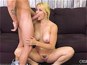 Sarah Vandella pounds on web cam and playthings her gash to climax