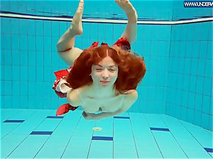 super hot polish ginger-haired swimming in the pool