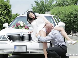 dirty bride takes her chauffeur's dick before her wedding