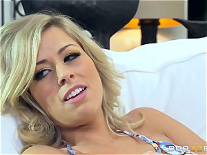 light-haired Zoey Monroe is home alone and longing manstick