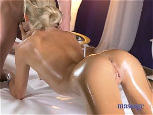 massage rooms scorching bony blonde gives point of view oral pleasure