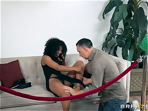 black beauty Misty Stone plumbed with a firm lengthy man rod
