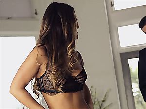 stunning Eva Lovia is teaching her beau some manners before the soiree