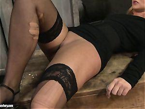 Kathia Nobili spanking a super hot stunner in public wc