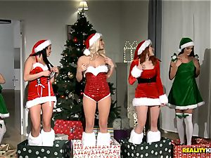 two dudes get the greatest Christmas surprise with redheaded Amarna Miller and her two hot pals Tricia teenager and Blanche Bradburry