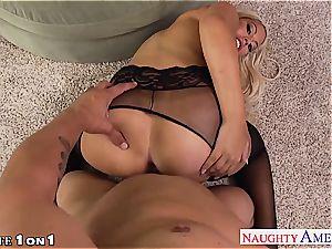 insatiable Bridgette B. takes his pillar between her boobies
