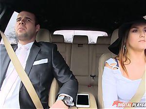 lollipop gobbling Barbara Bieber in the car