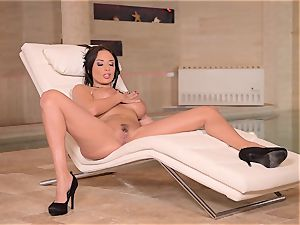 busty French cougar thumbs Her wet vulva