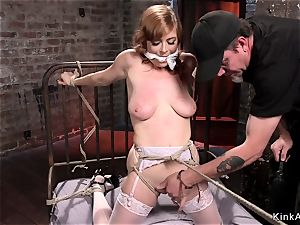 chesty sandy-haired ass-fuck fisted in dungeon space