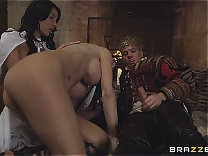 Alluring Anissa Kate and Jasmine Jae obey the king's will and dick